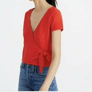 Madewell texture and thread wrap top in bright red